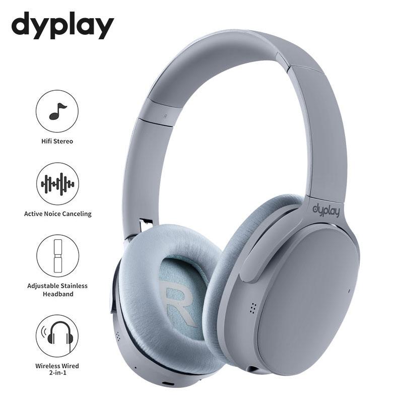 Dyplay ANC سماعات بلوتوث سماعات لاسلكية نشط إلغاء الضوضاء سماعة أذن مع ميكروفون لهاتف هواتف محمولة