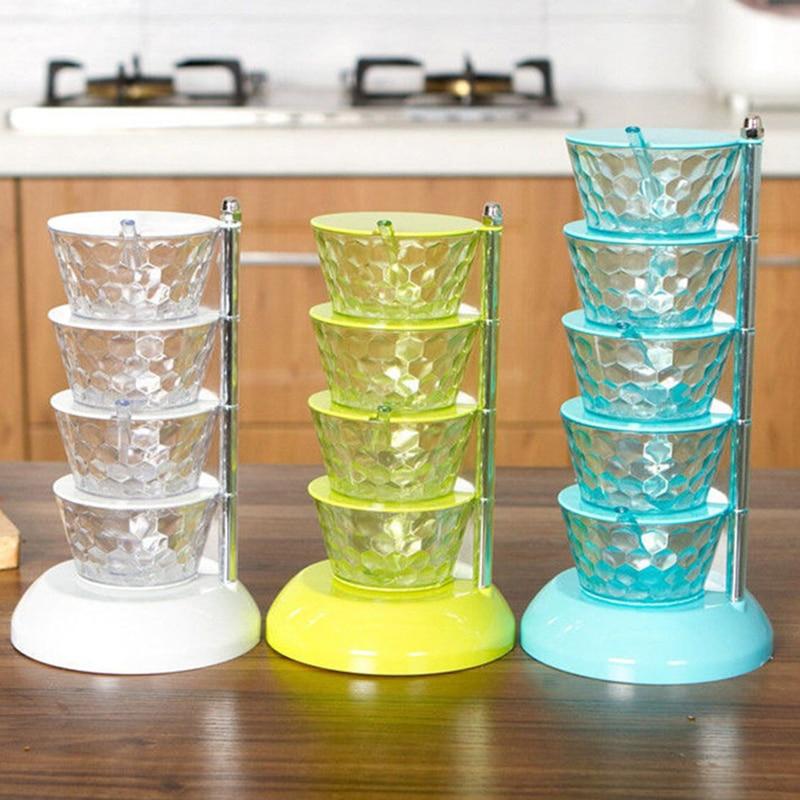 Estante de especias giratorio de plástico de 4/5 niveles, caja agitadora de especias, frasco para barbacoa, sal, pimienta, caja de condimentos, Kit de herramientas de cocina
