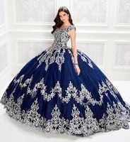 navy blue cheap quinceanera dresses ball gown cap sleeves tulle appliques beaded puffy sweet 16 dresses
