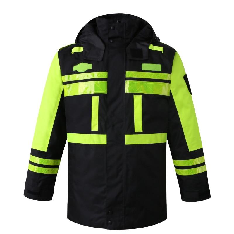 الشتاء وضوح عالية مقاوم للماء معطف للأماكن الخارجية مع بطانة قابلة للإزالة سلامة ملابس العمل ملابس العمل العاكسة