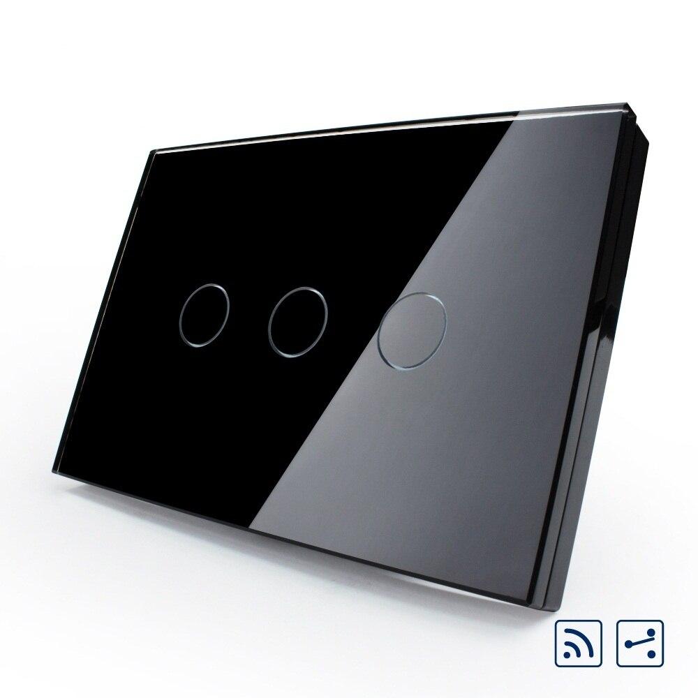 Interruptor remoto Livolo US/AU, Panel de vidrio negro, interruptor de luz de 2 vías de 3 vías, táctil y con función remota, VL-C303SR-82 con indicador LED