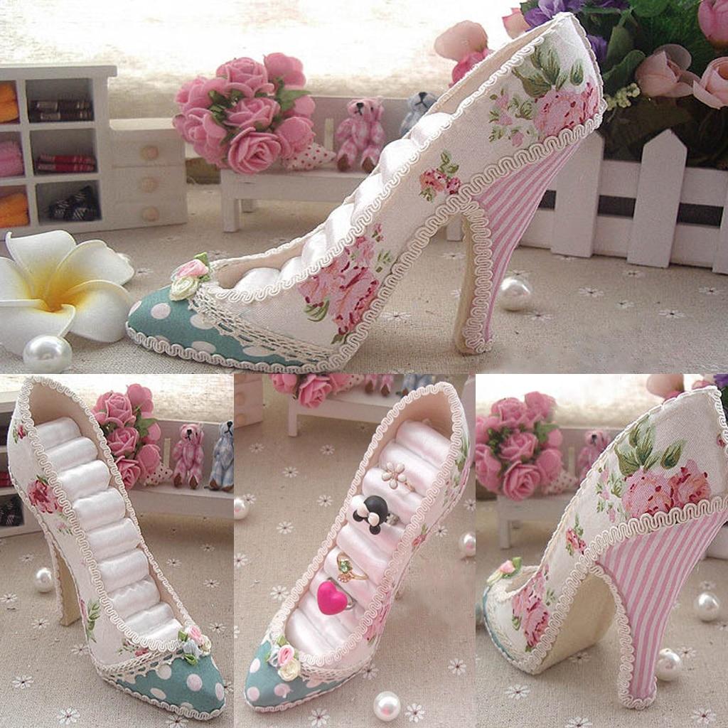 Soporte de anillo escalonado para zapatos de tacón alto con flores a la moda organizador de joyas