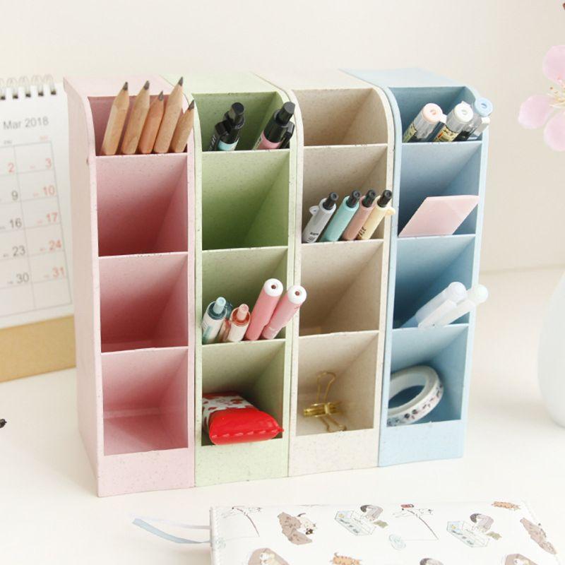 OOTDTY Kawaii Large Capacity Desk Pen Holder Pencil Makeup Storage Box Desktop Organizer Stand Case School Office Stationery недорого