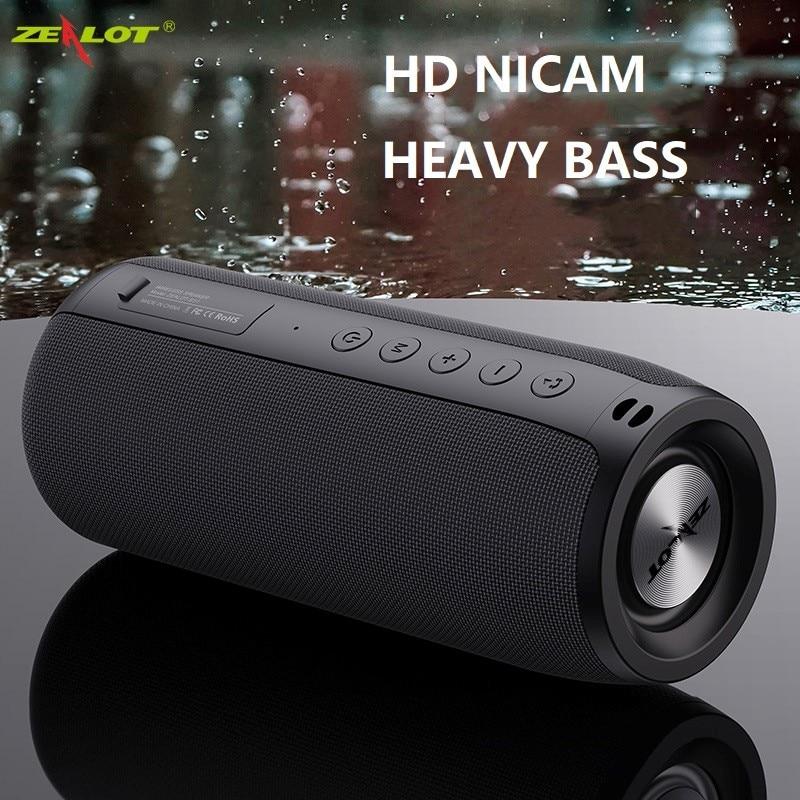 ZEALOT-مكبر صوت بلوتوث قوي ، مضخم صوت لاسلكي محمول ، مقاوم للماء ، يدعم بطاقة TF ، TWS ، محرك فلاش USB