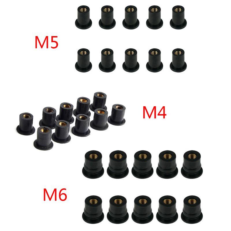10 шт. M4/M5/M6 Резиновые гайки глухая застежка ветровое стекло обтекатель хомут Аксессуары для мотоцикла