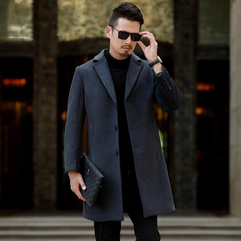 Новинка зимнее мужское деловое шерстяное пальто для отдыха мужское удлиненное шерстяное пальто выше колена с костюмным воротником