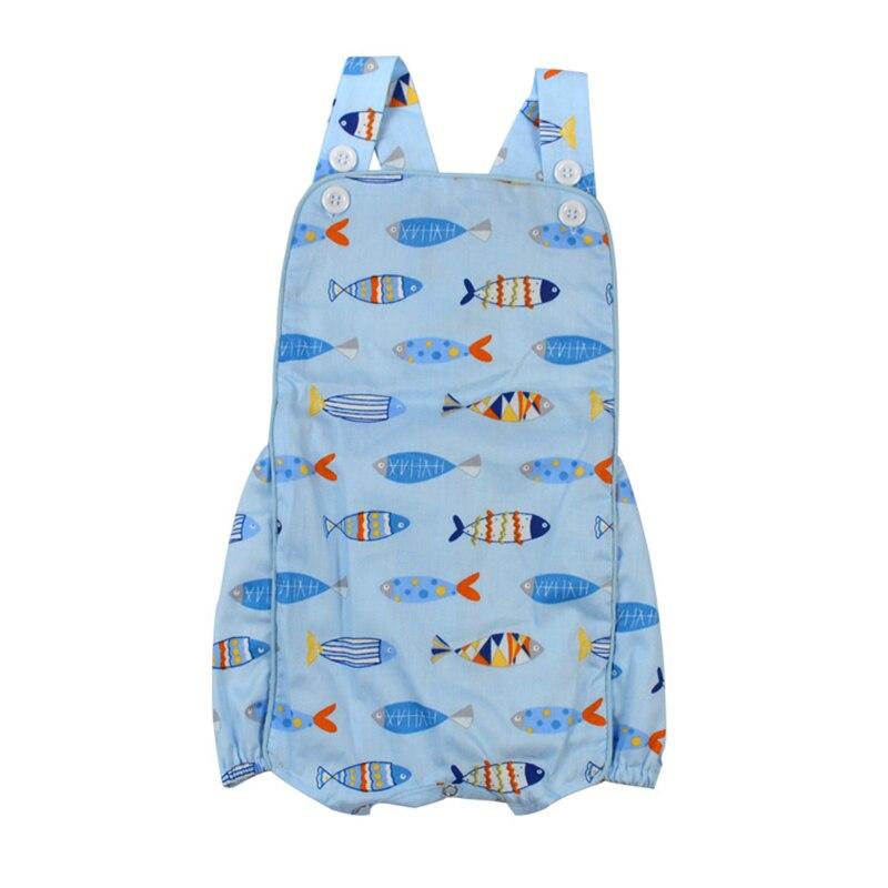 Puresun 2019 diseño de moda pescado estampado bebé niños niñas Romper niño Boutique traje con botón