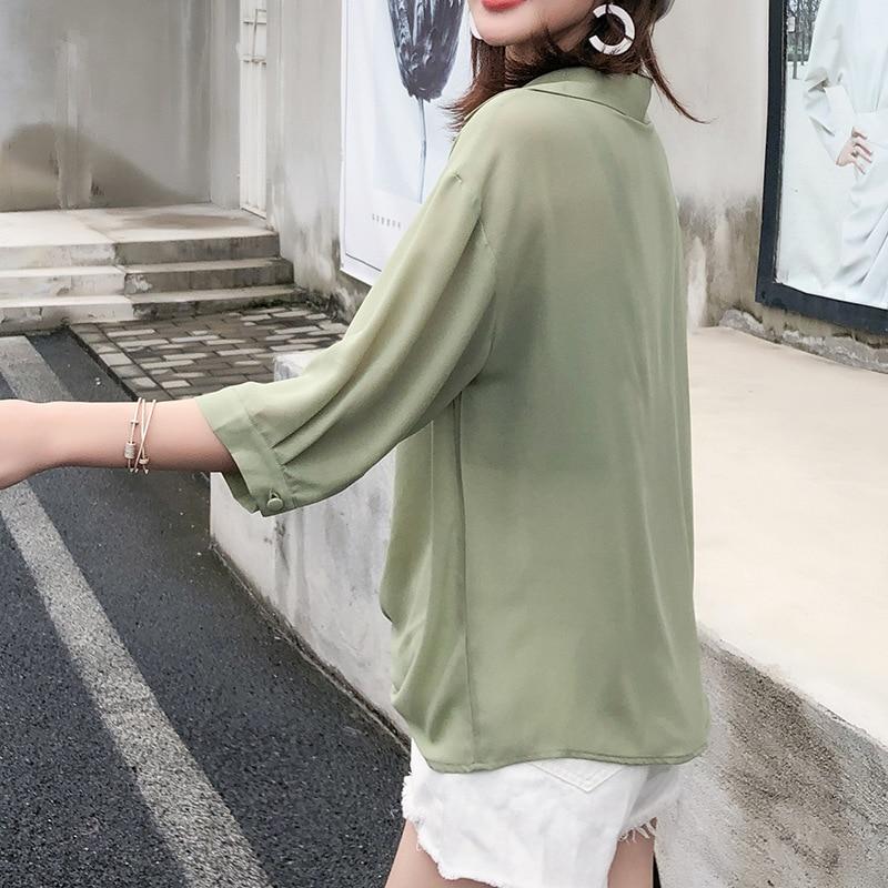 Blusas de media manga para mujer, ropa de verano de talla grande Lisa para mujer, diseño de botones, gasa, cuello en V, camisa suelta, Tops de maternidad ZL705