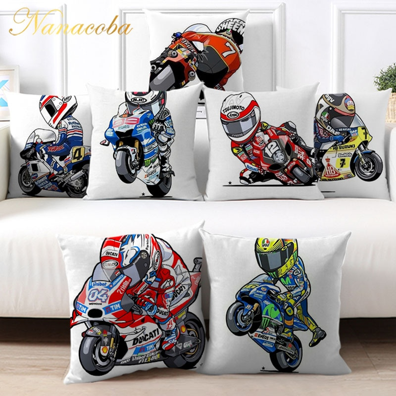 Cartoon Motorcycle Racing Pillowcase for Sofa Home Decoration Cool Motorbike Printed Cushions Cover Decorative Pillow Case 45x45