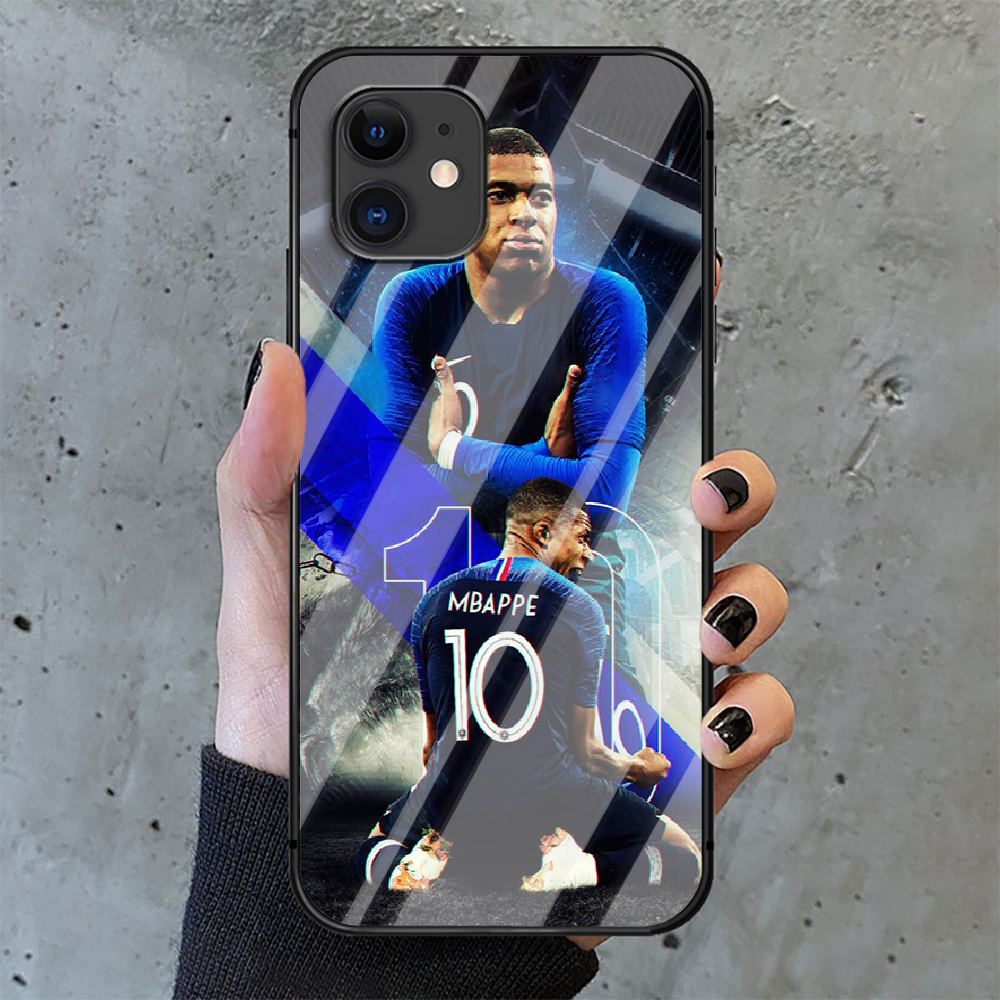 Kylian Mbappe football Phone Tempered Glass Case Cover For IPhone 6 6S 7 8 11 12 X Xr Xs Se 2020 Pro Max Plus Mini Fashion Black  - buy with discount