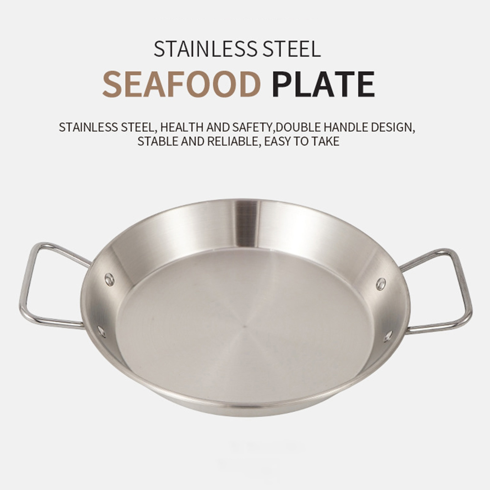 Nonstick Frying Pan Stainless Steel Fry Skillet With Side Handles Outdoor Binaural Camping Barbecue Pot Camping Cookware