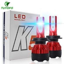 TUYOFO K5 2 uds H4 bombilla LED H7 H11 H8 9006 HB4 9005 HB3 Auto faro 90W 18000LM alta baja y haz bombillas lámpara del automóvil 6000K