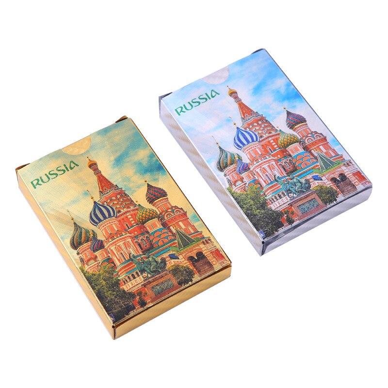 1 par de naipes de papel de oro ruso de colores locales oro y plata impermeable lavable plástico mate oro naipes