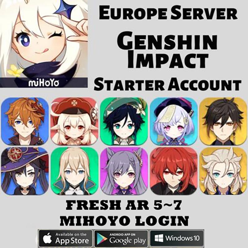 America/Europe/Asia Genshin Impact Keqing /Diluc /QiQi /Klee /Venti /Mona /Zhongli /Childe /Jean Cheap Starter Account AR 5-10