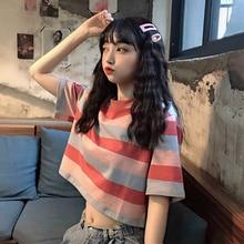 Polo Elegant Clothes Rainbow Striped Short Style Top 2021 New High Waist Korean Style New Loose Shor