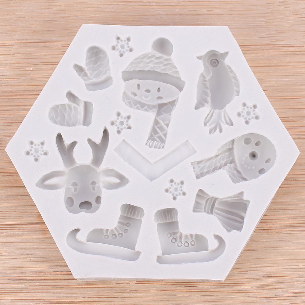 Muñeco de nieve de Navidad molde de silicona para pastel alce patines guantes herramientas de decoración de pastel de Chocolate Fondant torta de Mousse de Navidad DIY molde del jabón