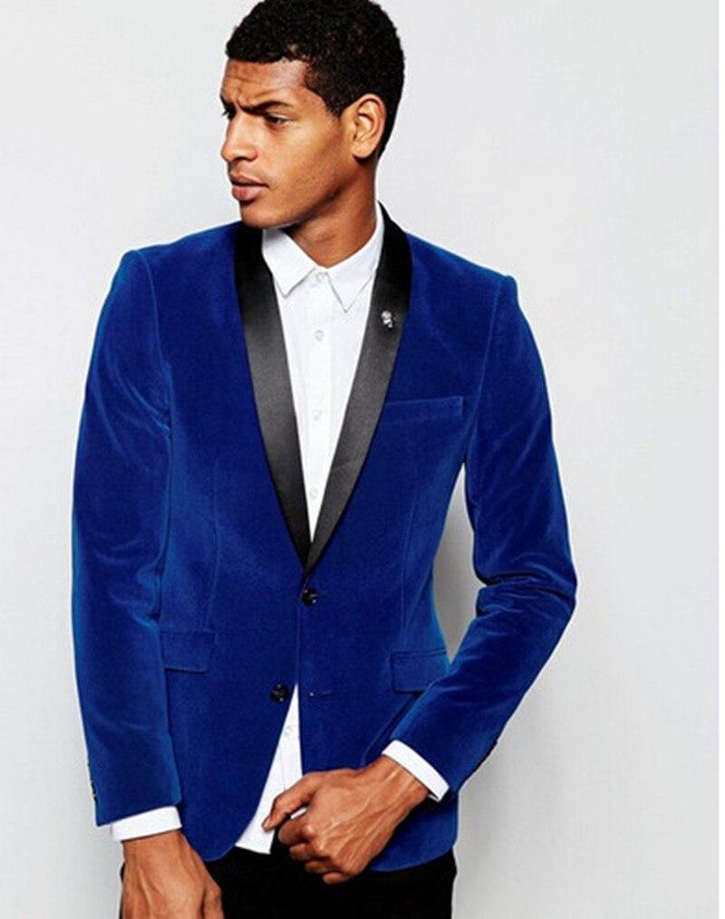 Handsome Velveteen Groomsmen Shawl Lapel Groom Tuxedos Men Suits Wedding/Prom/Dinner Best Blazer(Jacket+Pants+Tie) 033