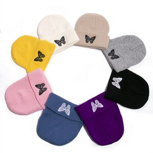 2020 new winter beanies buttlerfly embroidery knitted skull cap wool student cute warm sleeve cap all match