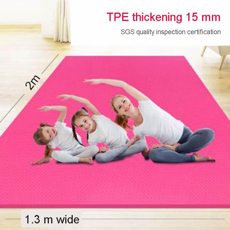 2 Meter 1.3 Meter Dubbele Yoga Mat Tpe Antislip Oversized 15Mm Verdikte Verbreed En Verlengd Kinderen Dans dans Deken