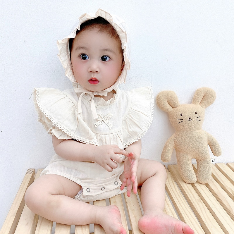 Yg Brand Children's Clothing 2021 Summer Clothing Korean Short Sleeve One-piece Clothing Solid Color Lace Baby Children's Clothi