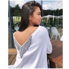 2019 New Women Back Diamond Beading Deep V Neck Cashmere Woolen Sweater Warm Knit Female Warm Winter Clothing