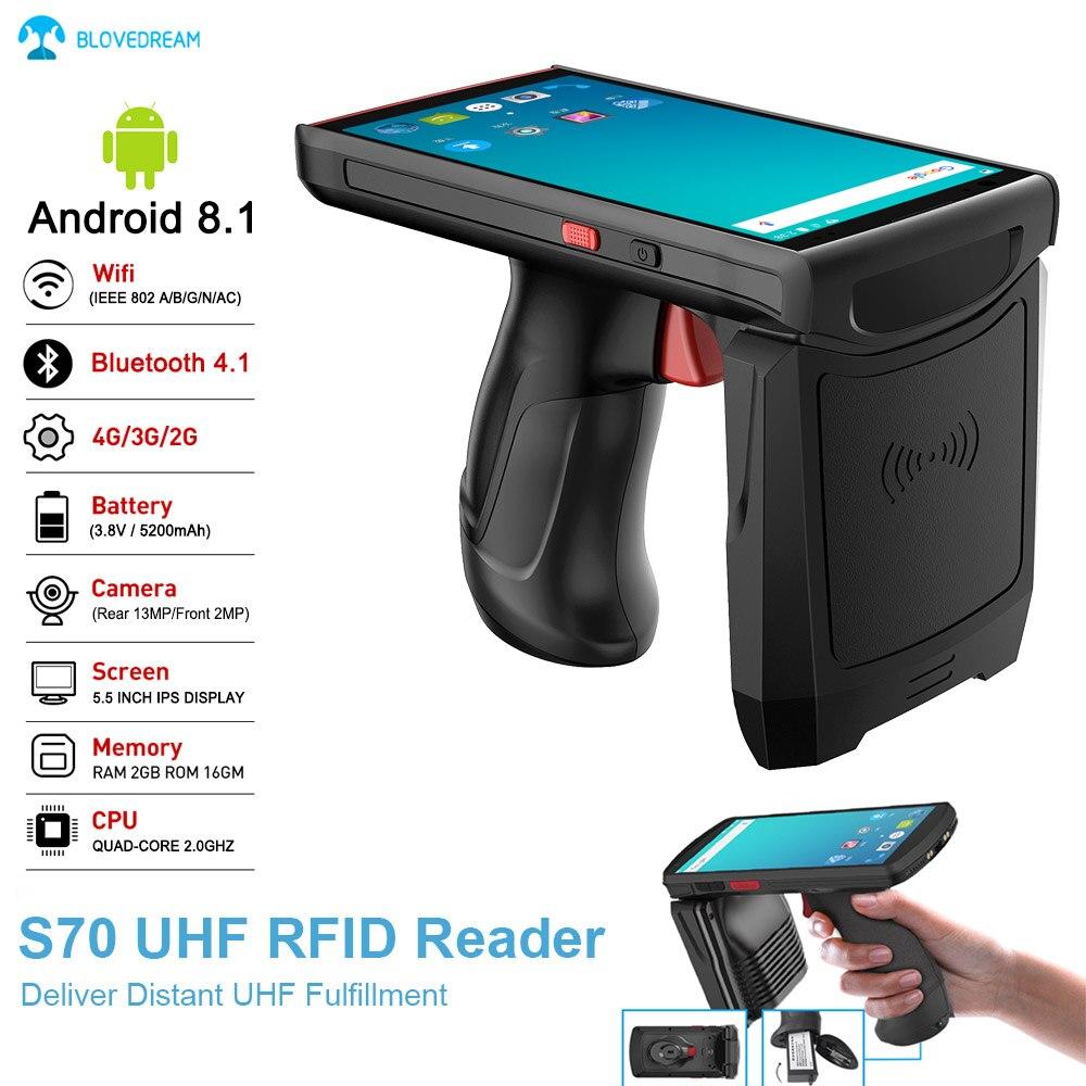 Blovedream S70 1D 2D QR Scanner di Codici A Barre PDA 4G Wifi Senza Fili di Bluetooth A Lungo Raggio 13M Mobile Android9.0 UHF RFID Lettore Portatile