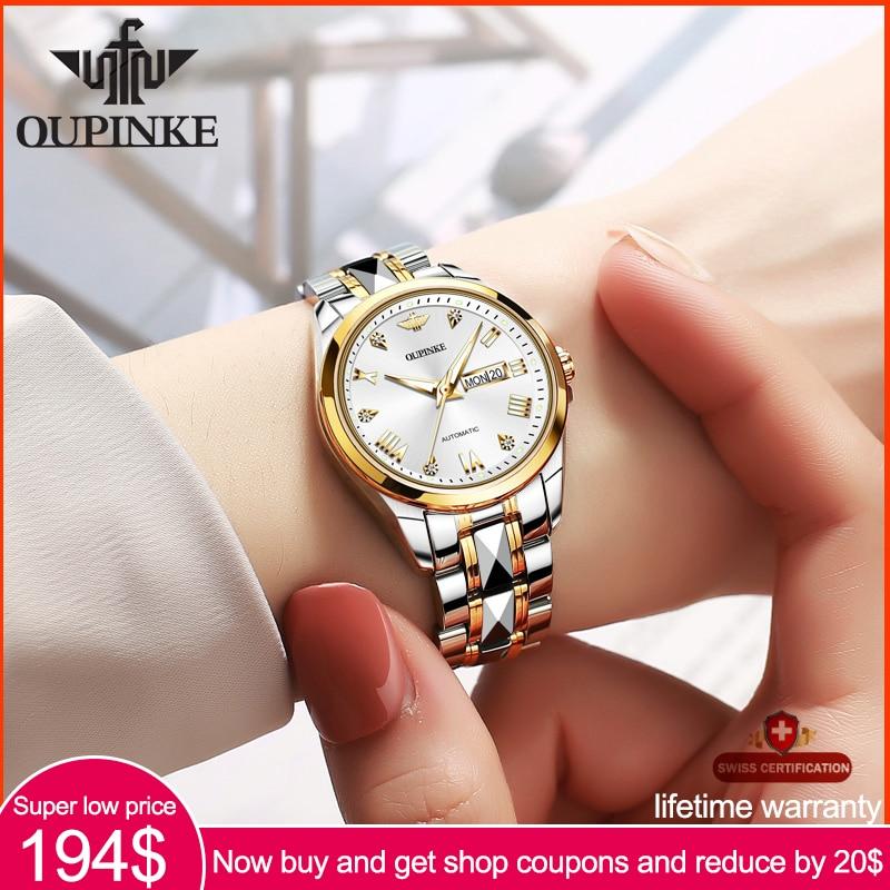 OUPINKE Top Luxury Women Wristwatch Automatic Mechanical Waterproof Watch Sapphire Mirror Tungsten Steel Watchstrap Lady Watches