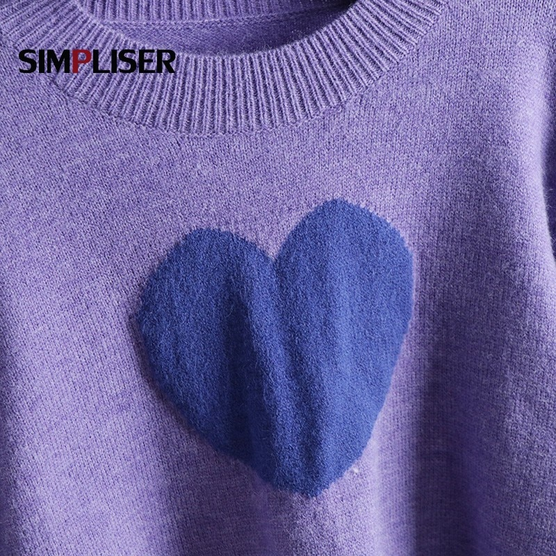 Brand New Women Short Pullovers 2021 Spring Autumn Female Fashion Sweaters Heart Embroidery High Street Knitting Crop Tops enlarge