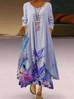2021 popular new printed long sleeved dress irregular hem dress