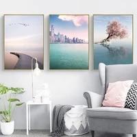 Tableau dart mural de decoration nordique  affiches et imprimes de paysage de mer romantiques et minimalistes  peinture sur toile sans cadre