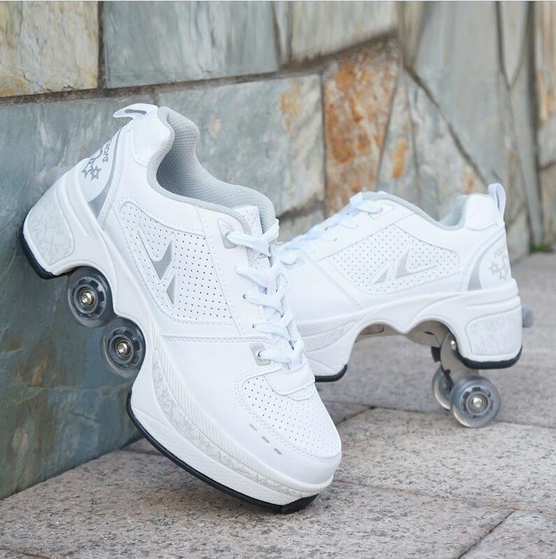 2020 Leather Black Powder Roller Skates Shoes 4 Wheels Adults Unisex Casual Shoes Children Skates Double Line enlarge