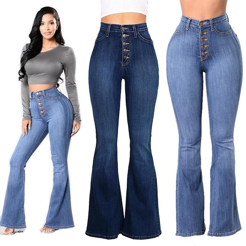S M l XL XXL XXXL 4xl mamá vaqueros Slim Skinny Denim de cintura alta Jeans bolsillo elástico botón pantalones de campana vaqueros Mujer