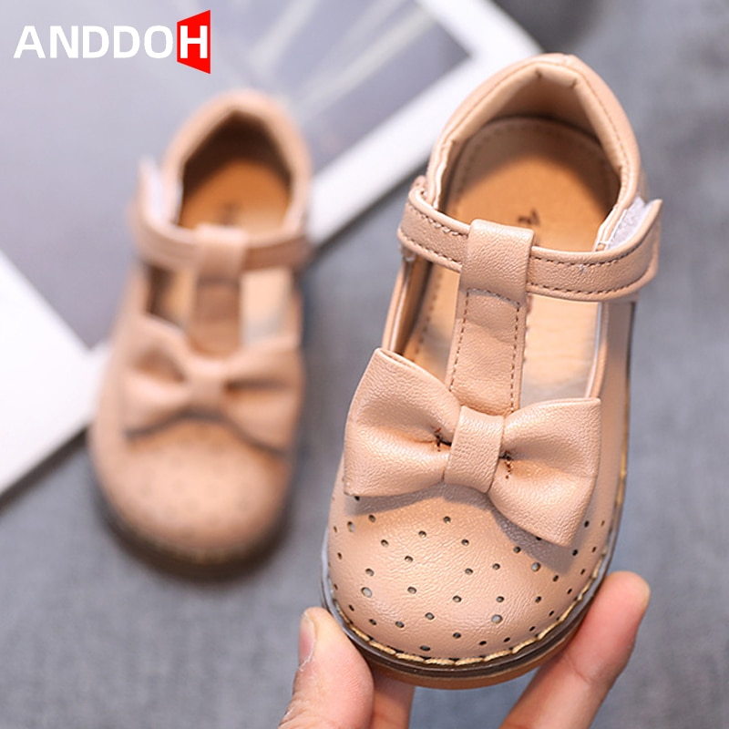 Size 21-30 Girls Breathable Bow Knot Single Shoes for Kids Children Anti-slippery Sandals Baby Wear-resistant Casual Sandals