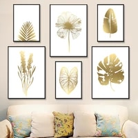 golden cycads monstera grass leaves plant wall art canvas painting nordic posters and prints wall pictures for living room decor