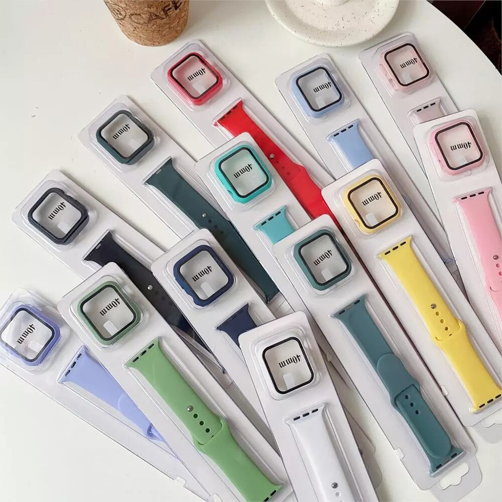 sport strap for apple watch band 44mm 40mm 42mm 38mm silicone bracelet smart wristband correa for iwatch series 6 5 4 3 2 1 se Case+strap For Apple Watch Band 44mm 40mm Silicone Wristband Bracelet Correa For Apple Watch Series 3 4 5 6 Se 42mm 38mm Strap