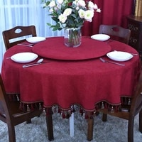 red tablecloth big large round tablecloth fabric round household tassels high grade plain 150cm 180cm table cloth customizable