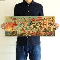 Affiche en papier Kraft de Collection danimation japonaise  autocollant mural  decoration de maison  peinture  70x27 5 cm