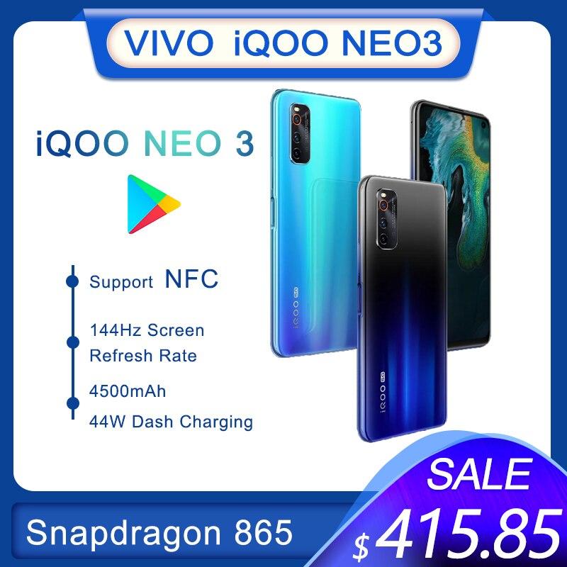 Перейти на Алиэкспресс и купить Оригинальный IQOO Neo 3 5G Смартфон Snapdragon 865 4500 мАч 44W тире зарядки мобильного телефона 144 Гц Экран частота обновления телефон NFC