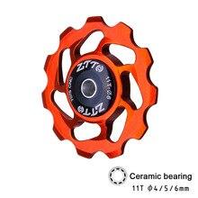 ZTTO 11T vtt vélo dérailleur arrière Jockey roue en céramique roulement poulie CNC vélo de route Guide rouleau tendeur 4mm 5mm 6mm