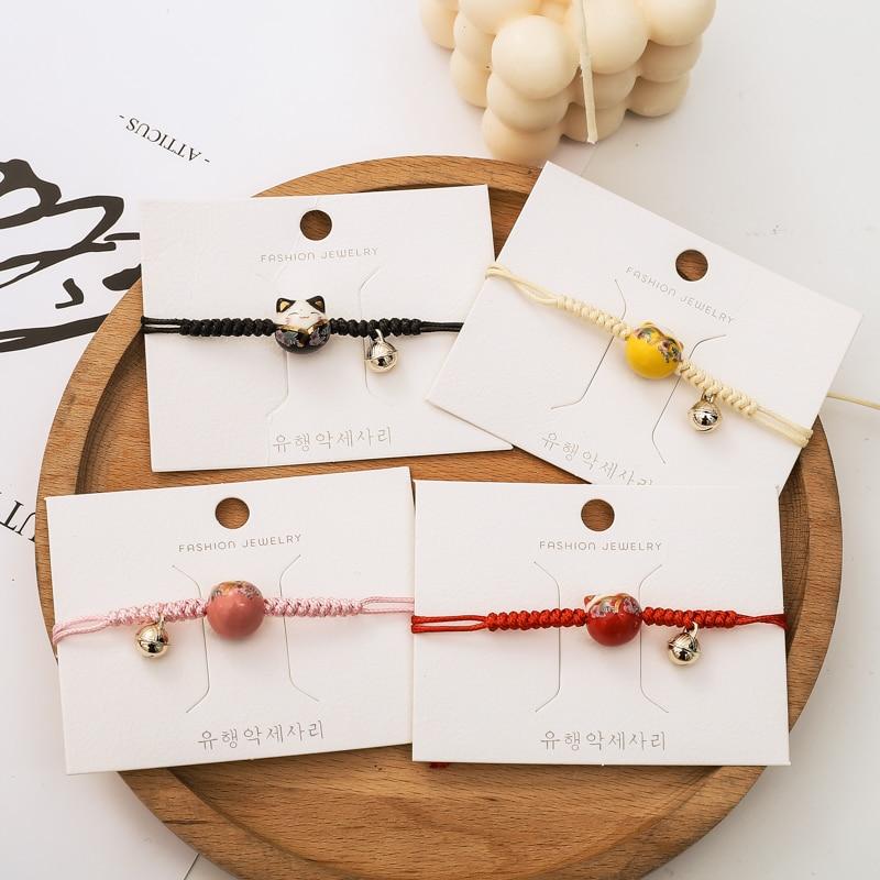 INS Special-Interest Design Ceramic Kitty Couple Bracelet Female Bracelet Simple Student Hand-Woven