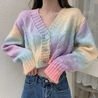 autumn knitted ladies cardigans women sweater female casual knitwear rainbow jacket outwear tops knitted coat sw033