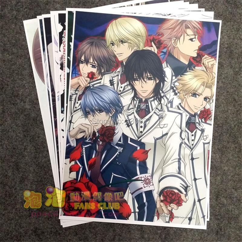 8 pçs/set Anime Vampire Knight Kiryu Zero Kuran Kaname Kuran Yuki cartaz parede pictures para sala de estar A3 cartazes de Filmes presentes
