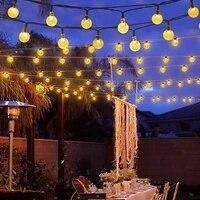 12m 100led solar fairy string light bubble lights crystal ball string light waterproof christmas tree wedding garden indoor deco