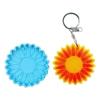 sun flower keychain epoxy resin mold key ring pendant earrings silicone mould diy crafts jewelry necklace casting tools
