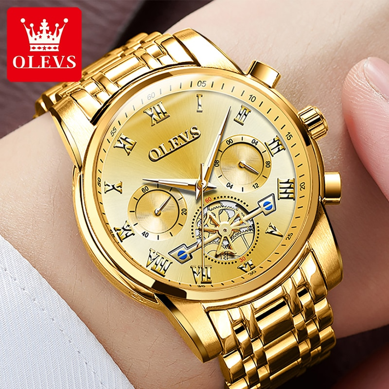 OLEVS Top Brand Luxury Men's Watches Waterproof Chronograph Man Watch Casual Business Stainless Stee