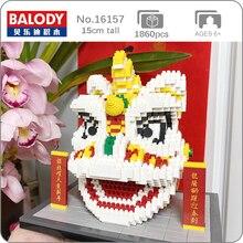 Balody 16157 중국 봄 축제 사자 댄스 동물 3D 모델 DIY 미니 다이아몬드 블록 아이들을위한 벽돌 건물 장난감 상자 없음