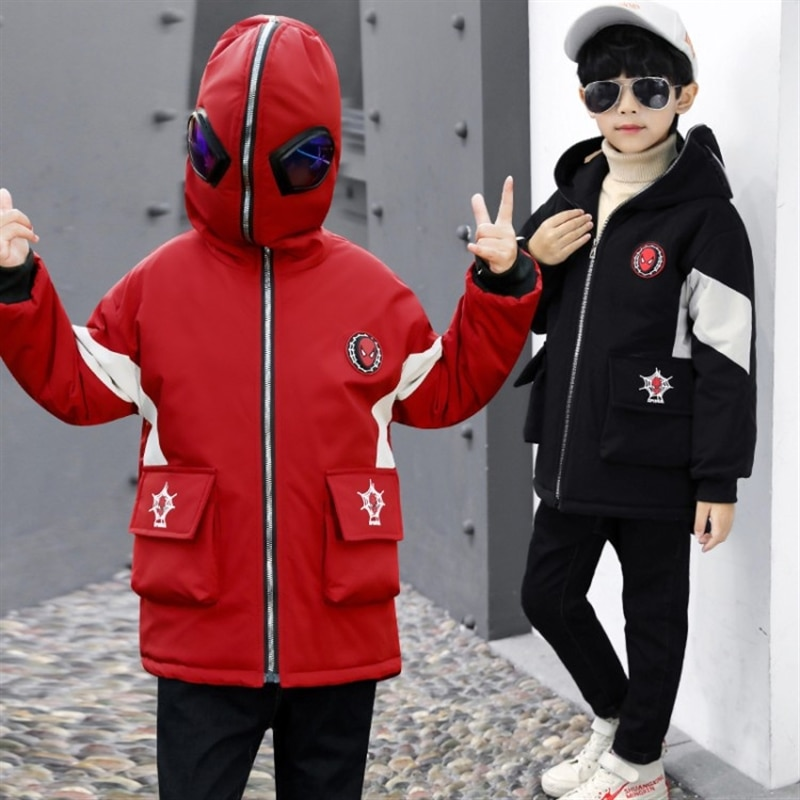 Boys' fleece-lined jacket thick children's long cotton trench coat hooded cotton-padded jacket autumn winter cotton-padded coat enlarge