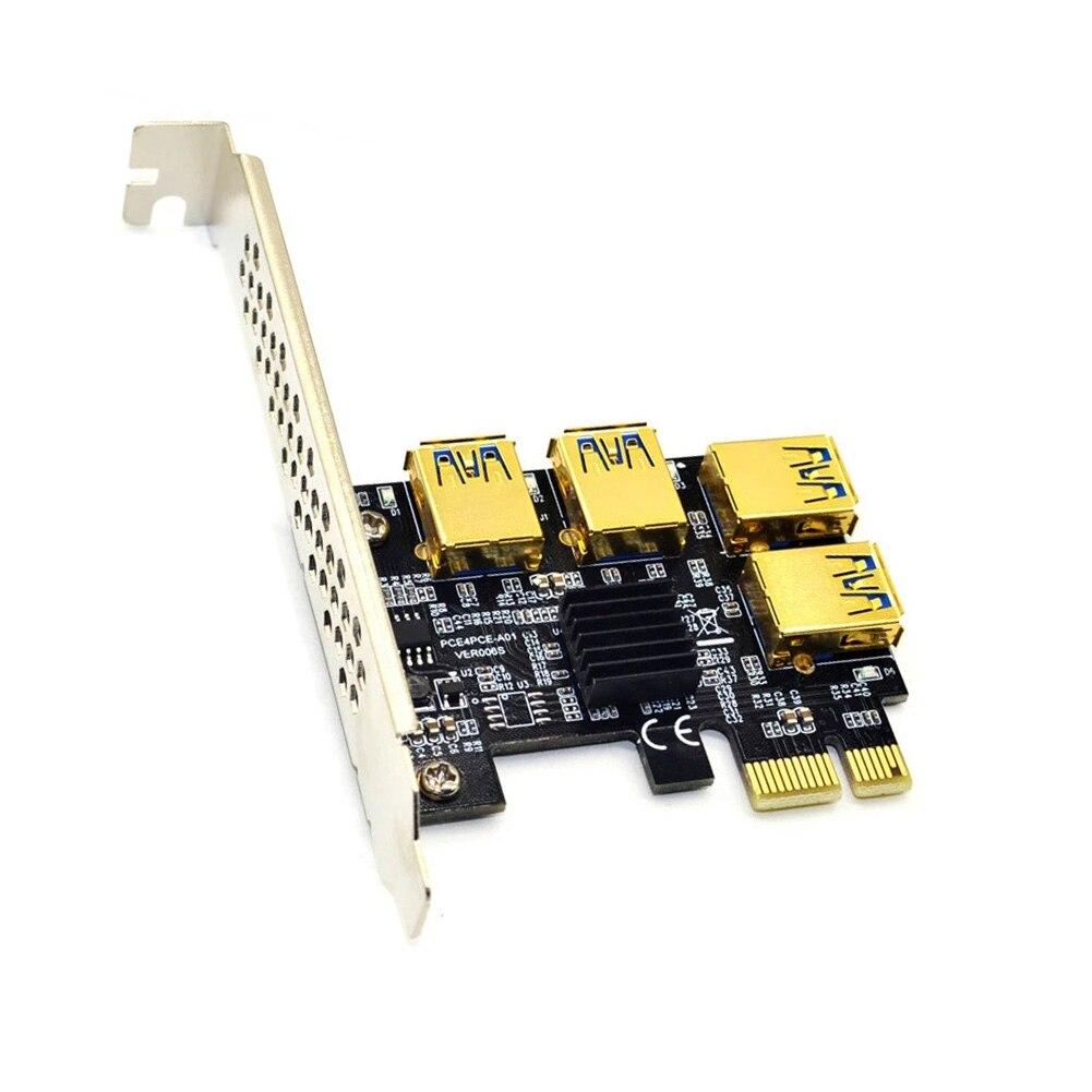 محول بطاقة Riser USB 3.0 PCI-E Express 1x إلى 16x Riser PCIE من 1 إلى 4 فتحة بطاقة مضاعف منفذ PCIe لمنجم BTC التعدين الناهض