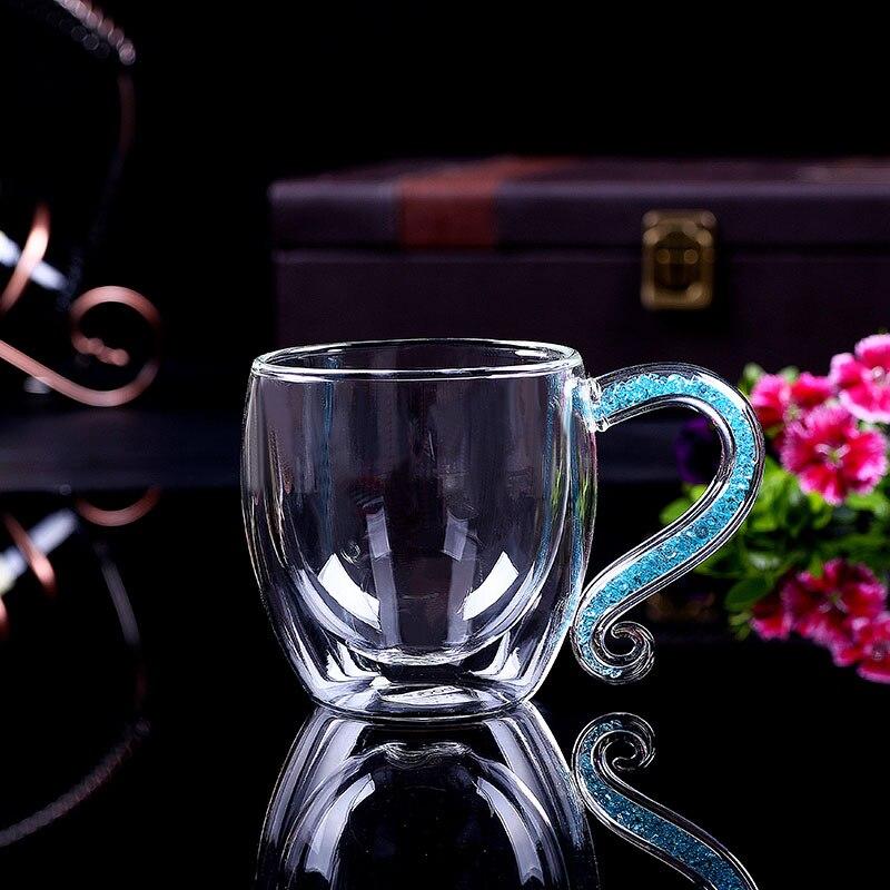 Caneca para café de luxo, xícara de café de cristal de vidro com camada dupla para beber h1124