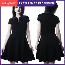 Grunge Aesthetic Vintage Pleated Evenging Party Dresses Gothic Elegant Solid Zipper Dress Patchwork